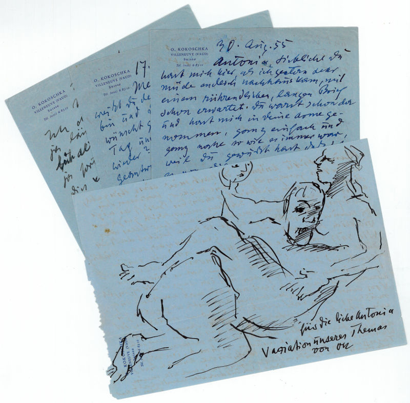 4 autograph letters signed (one of which: Kokoschka, Oskar, Austrian