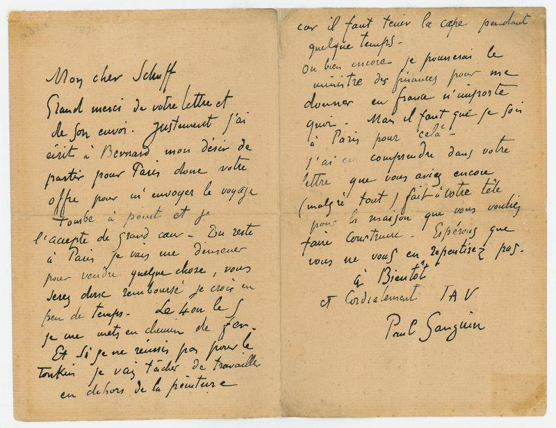 Autograph letter signed.: Gauguin, Paul, French
