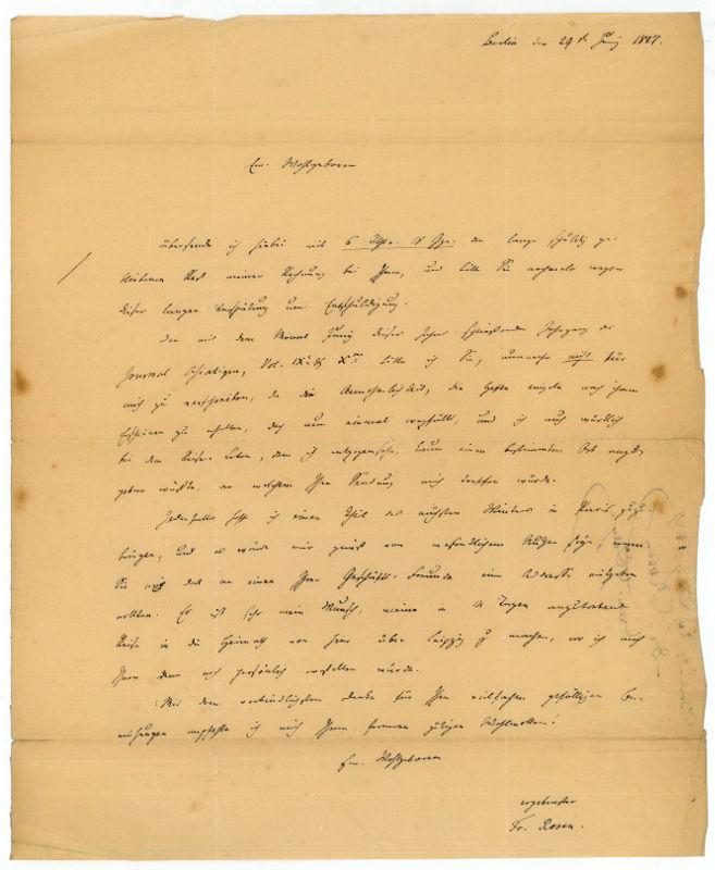 Eigenh. Brief mit U.: Rosen, Friedrich August,