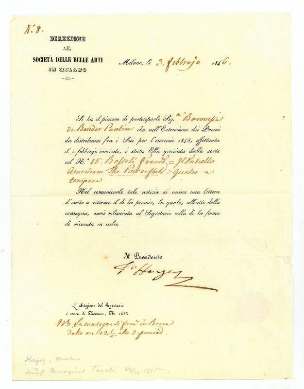 Formulardruck mit eigenh. U.: Hayez, Francesco de,
