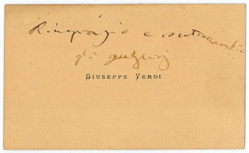 Autograph calling card. Verdi, Giuseppe, Italian composer (1813-1901).