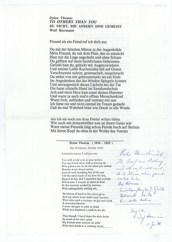 Blatt Mit Gedr Gedicht Und Eigenh Notiz