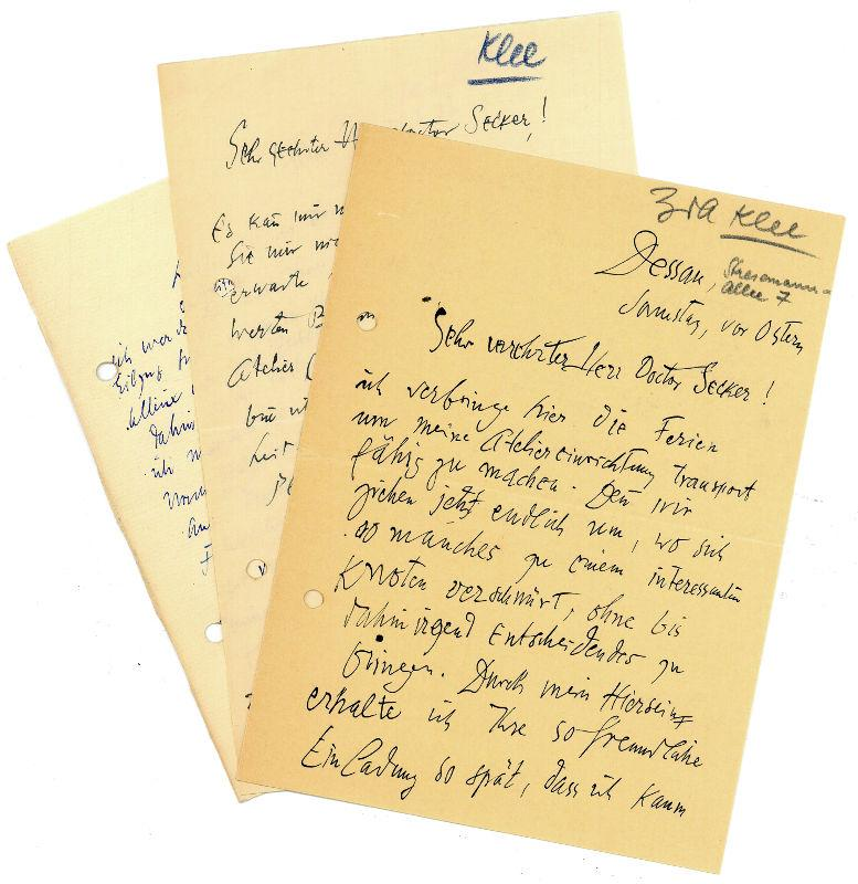 3 eigenh. Briefe mit U.: Klee, Paul, Maler