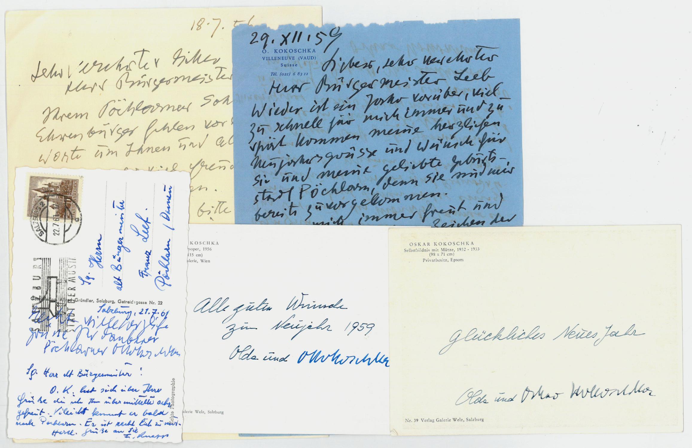 2 eigenh Briefe mit U. und 1: Kokoschka, Oskar, Maler,