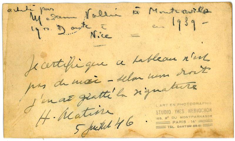 Autograph document signed.: Matisse, Henri, painter