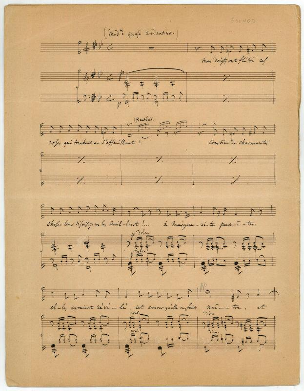 Autograph musical manuscript.: Gounod, Charles, French