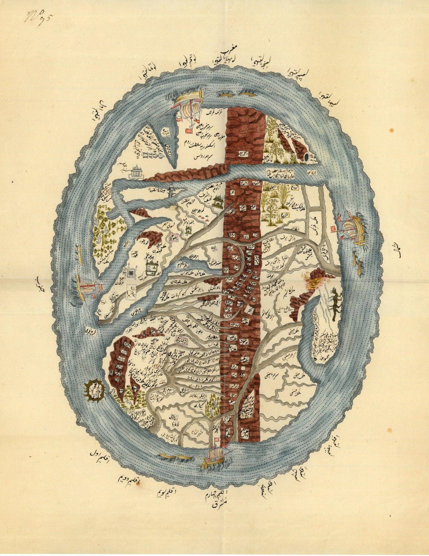 World map centered on the Arabian Gulf. von World Map].: Probably ...