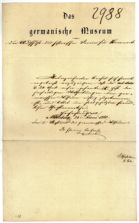 Dokument mit eigenh. U.: Aufseß, Hans von