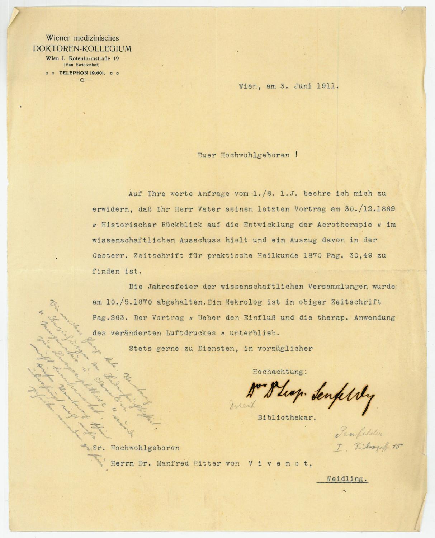 Ms. Brief mit eigenh. U.: Senfelder, Leopold, Arzt