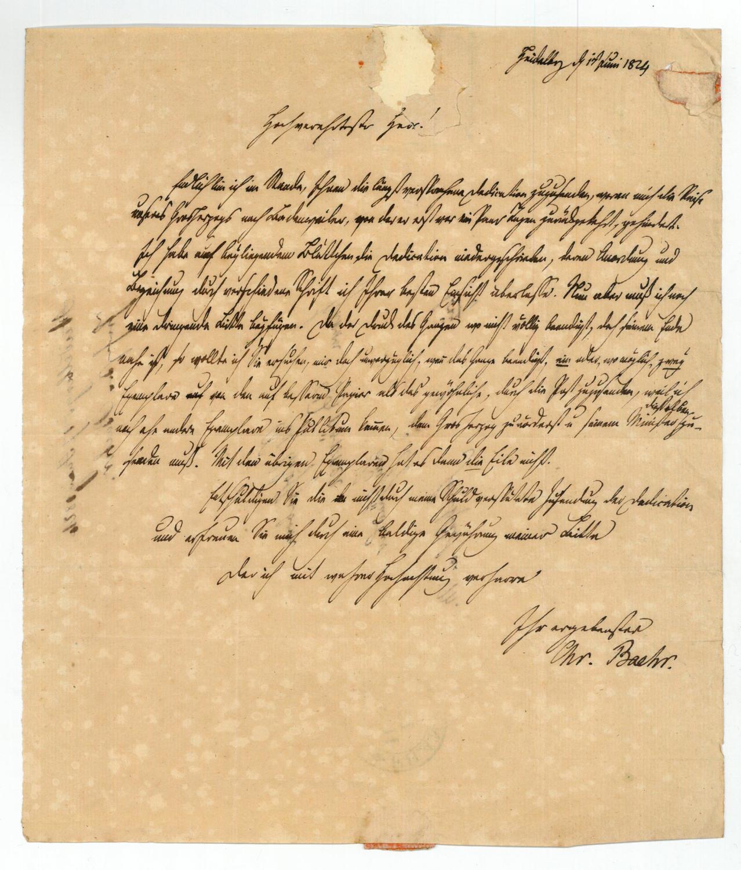 Eigenh. Brief mit U.: Bähr, Johann Christian
