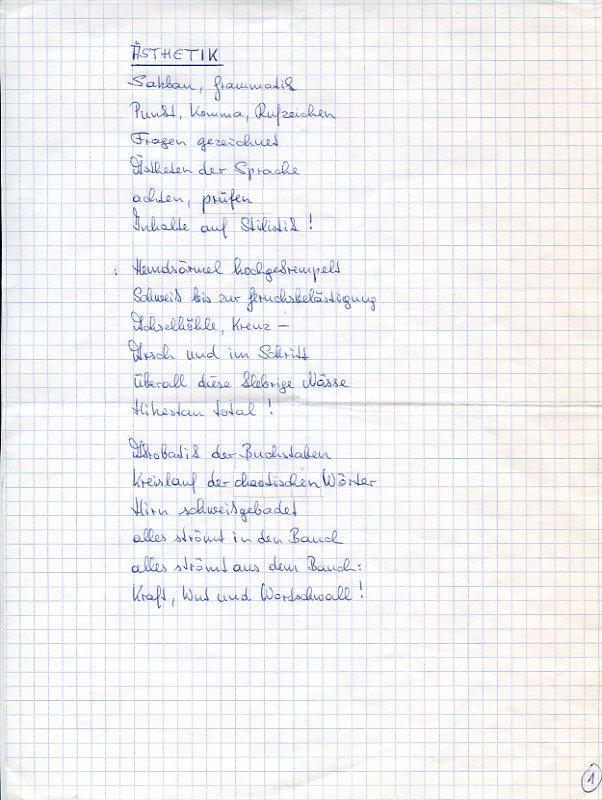 Eigenh. Gedichtmanuskript.: Unterweger, Jack, österreichischer