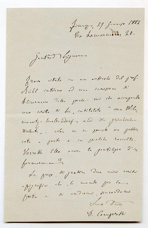 Autograph letter signed.: Comparetti, Domenico, Italian