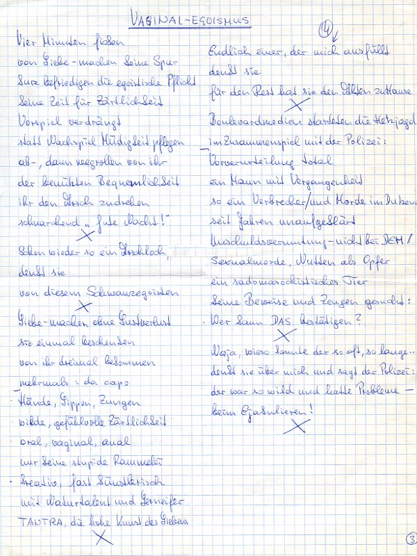 "Vaginal-Egoismus"". Autograph manuscript.: Unterweger, Jack, Austrian"