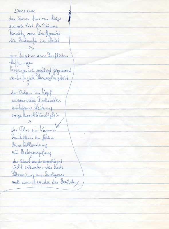 "Sanduhr"". Autograph manuscript.: Unterweger, Jack, Austrian"