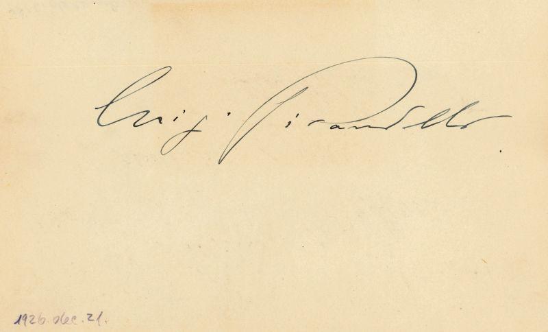 Albumblatt mit eigenh. U.: Pirandello, Luigi, Schriftsteller