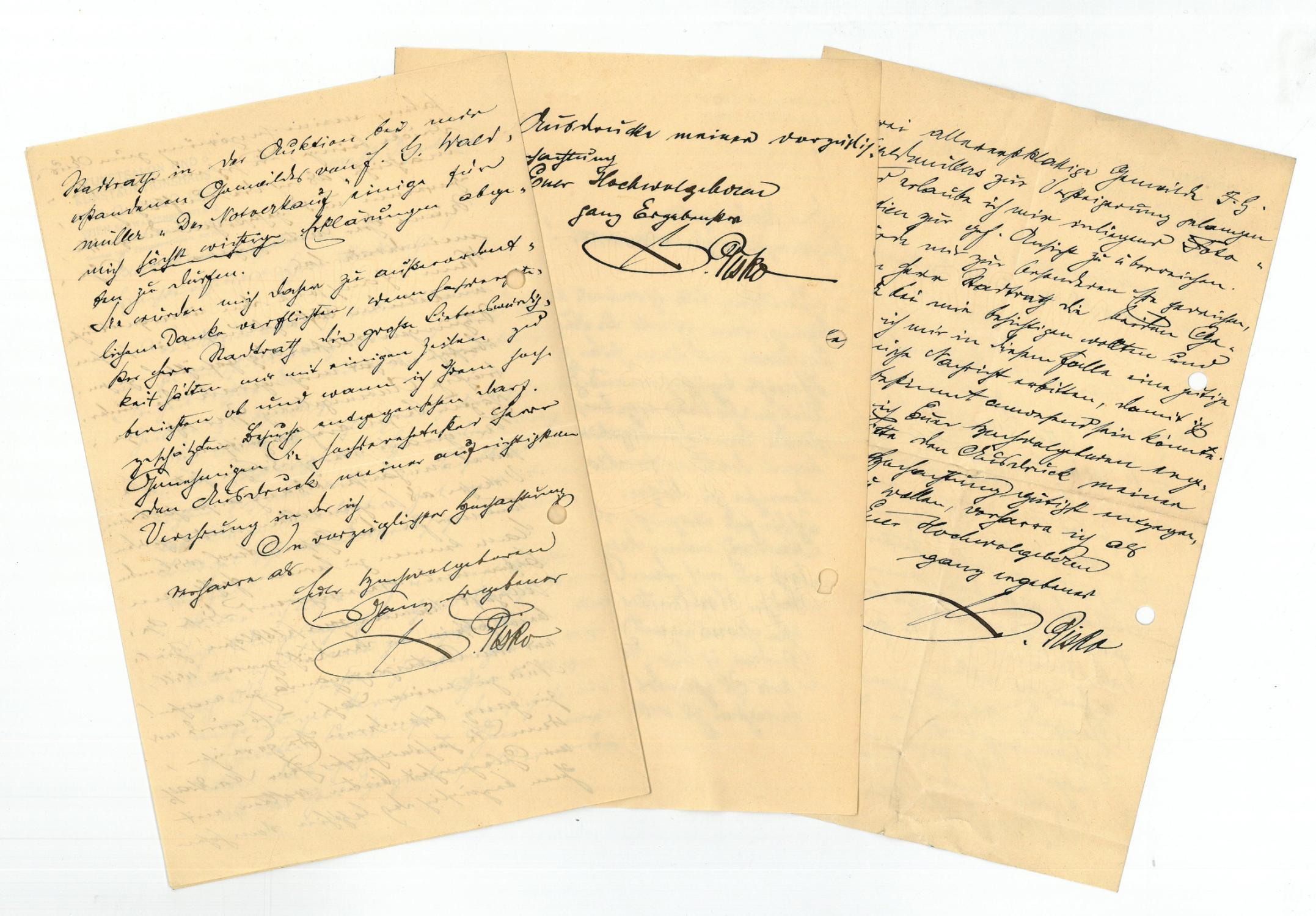 3 eigenh. Briefe mit U.: Pisko, Gustav, Kunsthändler