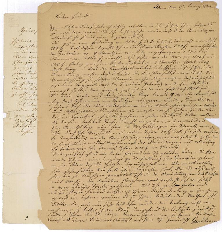 2 eigenh. Briefe mit U.: Gentiluomo, Giovanni, Gesangslehrer