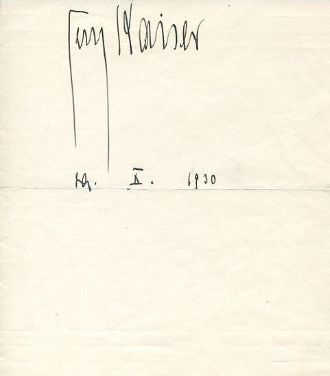 Albumblatt mit eigenh. Namenszug und Datum.: Kaiser, Georg, Schriftsteller