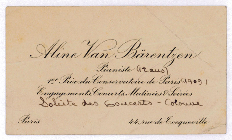 Carte De Visite Van Barentzen Aline