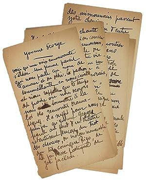 """Yvonne George"""". Autograph manuscript.: Desnos, Robert, French surrealist poet (1900-1945)."""