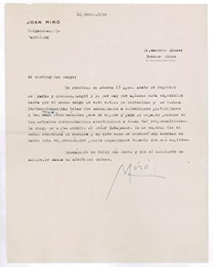 Typed letter signed.: Miró, Joan, Spanish-Catalan