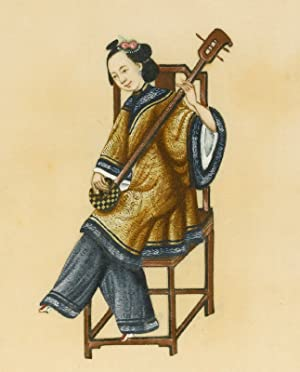 Four drawings of female Chinese musicians playing musical instruments.