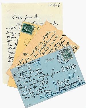 Autograph letter signed and 3 autogr. postcards: Marc, Franz, German