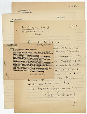 3 (1 autogr. and 2 typed) letters: Kandinsky, Wassily, Russian
