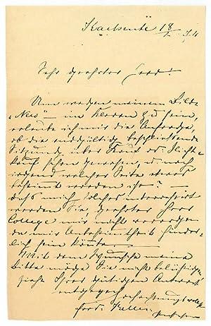 Eigenh. Brief mit U.: Keller, Ferdinand, Maler