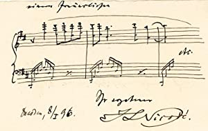 Autograph lettercard with two staves and signature.: Nicodé, Jean Louis,