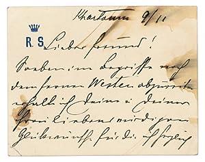 Autogr. lettercard signed.: Slatin-Pascha, Rudolf von,