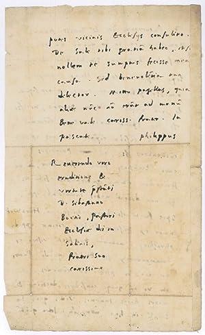 "Autograph letter signed (""Philippus"").: Melanchthon, Philipp, humanist"