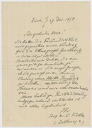 "Eigenh. Brief mit U. (""C. Keller"").: Keller, Conrad, Zoologe"