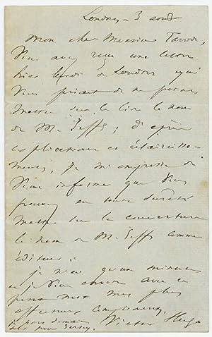 Autograph letter signed.: Hugo, Victor ,