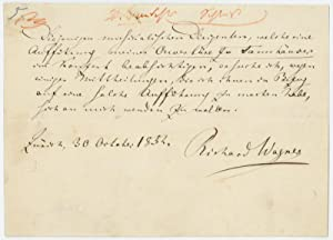 Autograph document signed.: Wagner, Richard, German