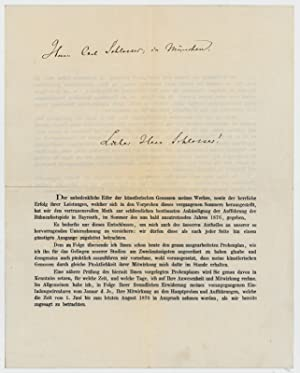 Printed invitation with autograph address signed.: Wagner, Richard, German