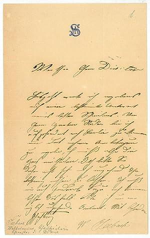 Eigenh. Brief mit U.: Seebach, Wilhelmine, Schauspielerin