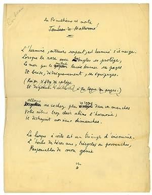 """La Pénultième est morte"""". Poème autographe.: Cocteau, Jean, French"""