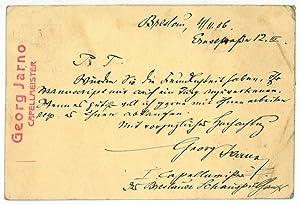 Eigenh. Postkarte mit U.: Jarno, Georg, Komponist