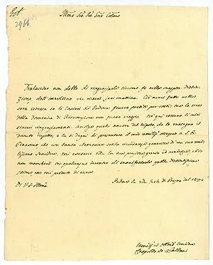 Eigenh. Brief mit U.: Caldani, Leopoldo Marco