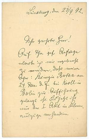 Eigenh. Brief mit U.: Kurth, Otto, Komponist