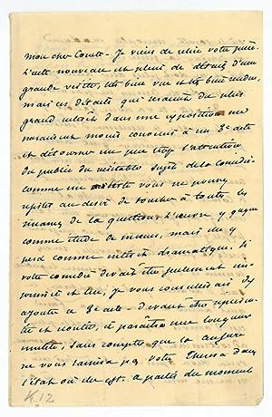 Autograph letter signed.: Dumas fils, Alexandre,