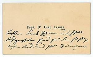 Eigenh. Visitenkarte.: Langer, Karl Ritter