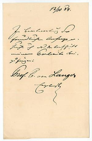 Eigenh. Brief mit U.: Langer, Karl Ritter