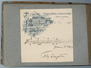 Album containing 41 musical quotations, postcards, and: Musicians' album].