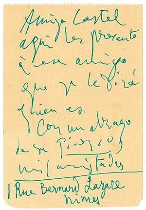 Autograph Note signed.: Picasso, Pablo, painter