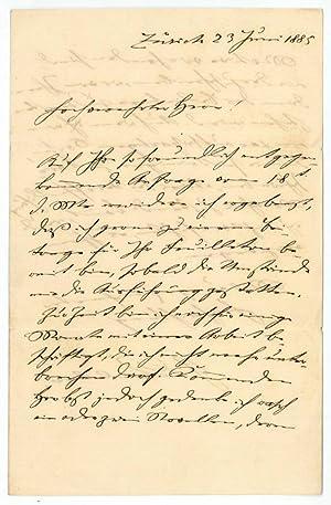 """Eigenh. Brief mit U. (""""G. Keller"""").: Keller, Gottfried, Schriftsteller"""