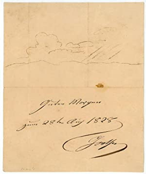 Autograph drawing signed.: Goethe, Johann Wolfgang