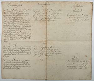Manuscript memoranda relating to the accounts of: Goethe, Johann Wolfgang