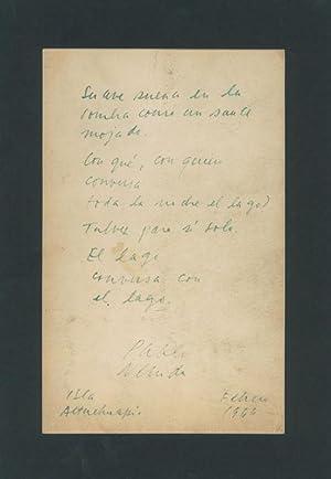 Autograph poem signed.: Neruda, Pablo, Chilean
